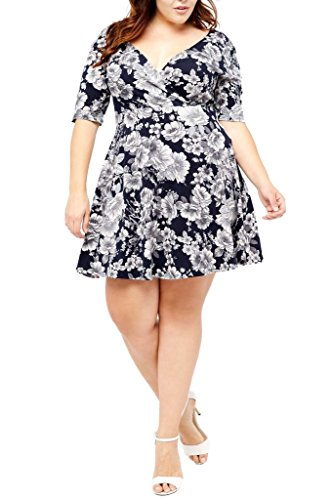 Elbow Wrap Usa Model - Poshsquare Women's Short Sleeve Floral Print Fit and Flare V Neck Wrap Plus Size Dress USA Navy Grey 1XL