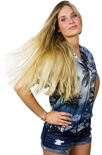 - King Kameha Funky Hawaiian Blouse Shirt, Shortsleeve, Beach, Grey, L