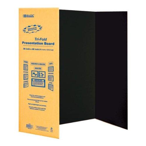 36'' x 48'' Black Tri-Fold Corrugated Board 24 pcs sku# 703545MA by Bazic