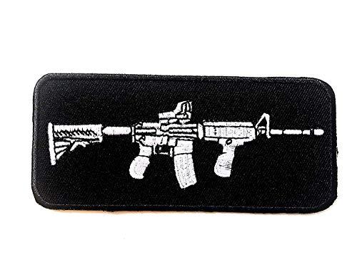 Tyga_Thai Brand AK47 Machine Gun M-16 M16 Riffle Clue Sew Iron on Patch Army Black Badge Sew on Iron on Embroidered Applique Patch (IRON-AK47-GUN-M16) (Clothing Ak47)