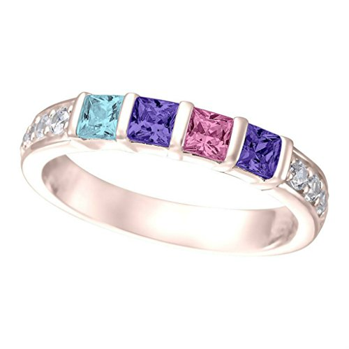 NANA Princess w/side CZs Mothers rings 1 to 6 Simulated Birthstones - 10k Rose Gold - Size (3 Stone Mom Ring)