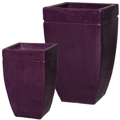 Square Tapered Ceramic Planters - Eggplant Purple (set of 2) by Emissary
