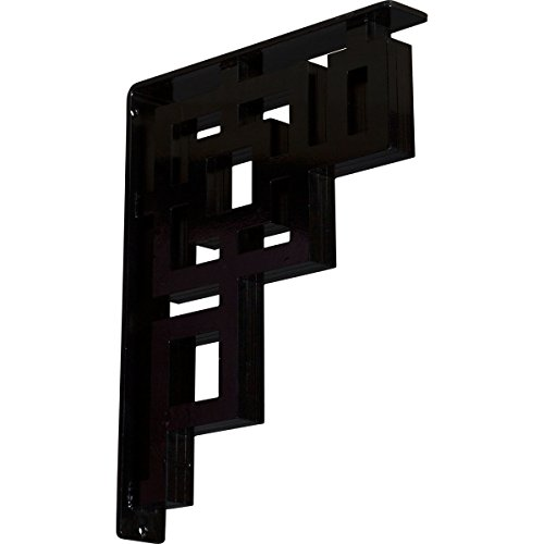 "Ekena Millwork BKTM02X12X15TER 2"" W x 12"" D x 15"" H Eris Wrought Iron Bracket (Triple Center Brace)"