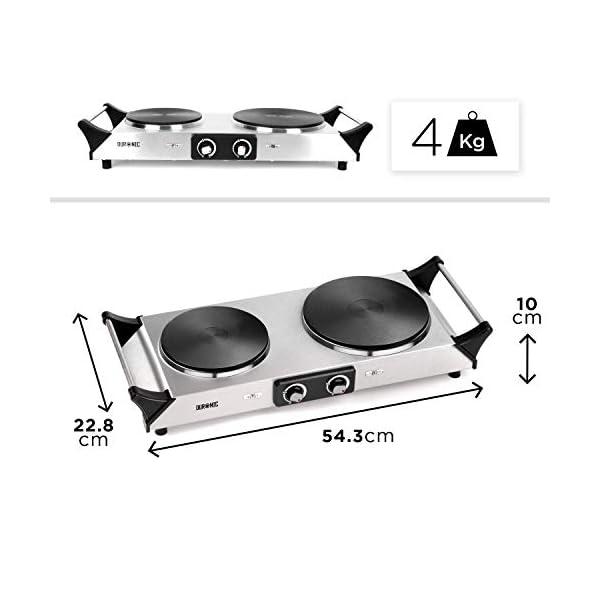 Duronic HP2SS Fornello elettrico da campeggio 2500 W Piano cottura portatile in acciaio INOX con 2 piastre elettriche in… 3 spesavip