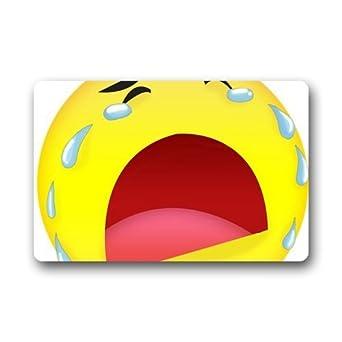 Funny Emoji llorar cara personalizadas Rectángulo Entryways – Felpudo de interior/al aire libre Felpudo