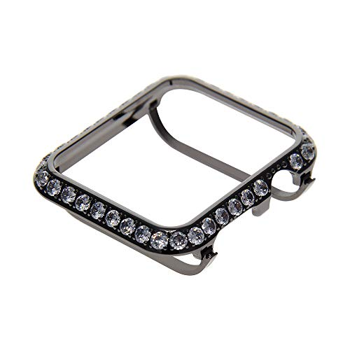 Callancity 3.0mm Bling Rhinestone Diamond Bumper Crystal Bezel face Cover Compatible Apple Watch Series 3 Series 2 Series 1 (Black Platinum, 42mm) ()