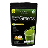 Organic Vegan Greens by Yumma Superfoods, Mezcla verde de superfoods en polvo 360 gr, 100% orgánico y natural