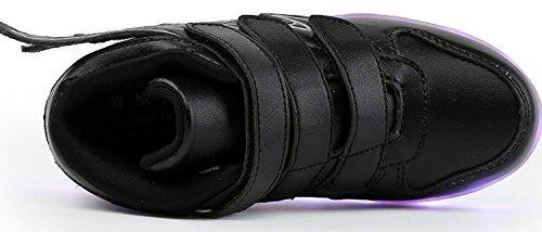 Aidonger - Zapatillas deportivas infantiles con led que cambia a 7 colores, con carga USB negro
