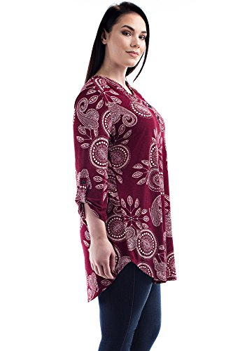 Betsy Red Couture Womens Plus Size Dress Shirt Tunic
