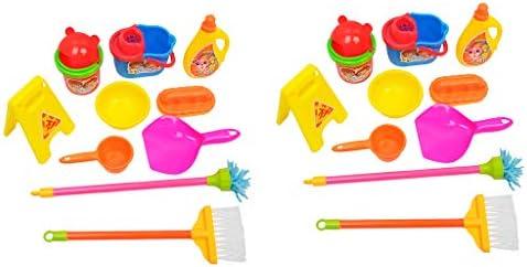 20個 子供 ロールプレイおもちゃ クリーニングツール クリーナートイ バケツ ダストパン ブラシ