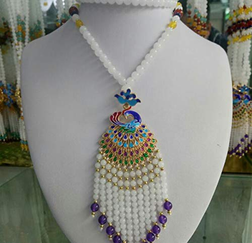 (Libaraba Cloisonne Filigree Displaying Peacock with White Jade Beads Tassels Pendant Necklace with Jewelry Box,Peacock Necklace for Women (Style A,Purple))