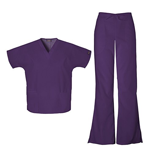 Cherokee Workwear Women's 4700 Top & 4101 Pant Medical Uniform Scrub Set (New Eggplant - Small)
