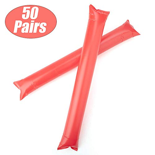 GOGO Bam Bam Thunder Sticks Cheerleading Outfit Inflatable Noisemakers Blow Bar Party Favors Red 50 Pairs