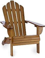 blumfeldt Vermont tuinstoel van dennenhout - Deluxe Edition, Adirondack stoel, weerbestendig, opvouwbaar, hoge rugleuning en diepe zitting, PU-lak, max.150 kg, bruin