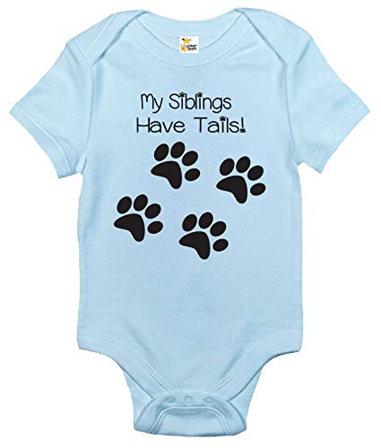 (Rapunzie My Siblings Have Tails Baby Bodysuit Cute Baby Clothes for Infant Boys and Girls (0-3 Months, Light Blue))