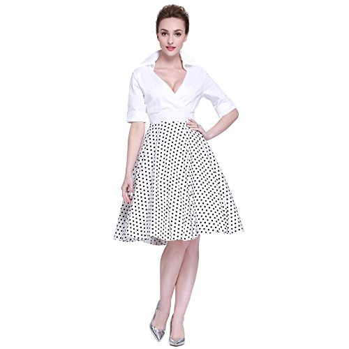 Heroecol Vintage 1950s 50s Dress Style Retro Rockabiily Cocktail V Neck XL WBD -