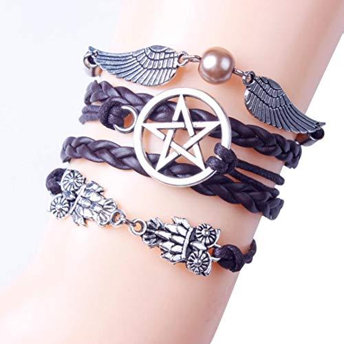 Retro Handmade Woven Angel Wing Feather Braided Buckle Purple Leather Bracelet Charm Cuff Jewelry (Purple)