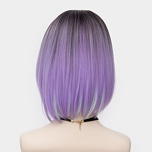 Probeauty Women's Wig Short Bob Dark Root Wig Women's Fashion Synthetic Ombre Wig (Dark Root Ombre Purple) by Probeauty (Image #4)