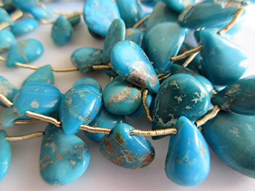 Super Quality Gemstone Beautiful Jewelry Natural Sleeping Beauty Turquoise Beads, Pear Beads, Arizona Turquoise, Approx 20mm To 7mm Beads Code-JP-3157   B07KNR1SYN