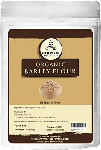 Naturevibe Botanicals Organic Barley Flour, 1lb | Non-GMO and Gluten Free | Rich Source of Fiber