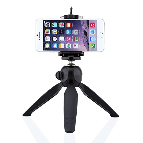 FAVOLCANO Yunteng Mini Tripod with Holder Clip Self-Tripod for Digital Camera & iPhone 6 6s 7 Plus 6 7 5S 5C 4S & Samsung Galaxy S7 S6 Edge S5 S4 S3 Note 6 5 4 3 2 and Other Cellphones