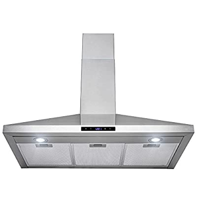 "Golden Vantage 36"" Stainless Steel Wall Mount Touch Control Kitchen Cooking Range Hood Vent Fan"