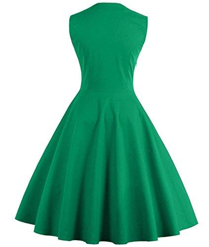 Retro Cocktail VERNASSA Dots Dress Audrey Dress Rockabilly 1950s Women's Green Vintage Polka qAq8Uz1