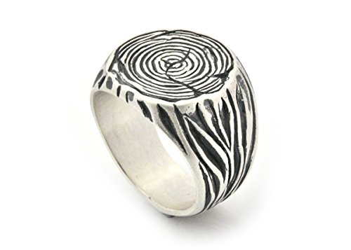 - Sterling silver men's signet tree trunk ring size 6 to12.5