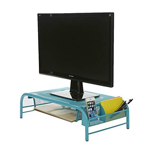 Mind Reader MESHMONSTA-TUR Metal Mesh Desk Drawer, Desktop Monitor Stand Organizer, Turquoise