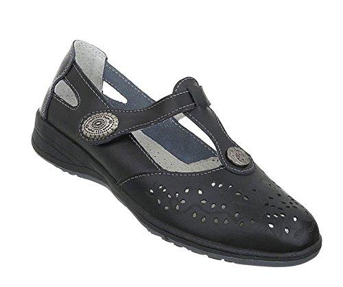 Damen Schuhe Pumps Leder Klettverschluß Schwarz