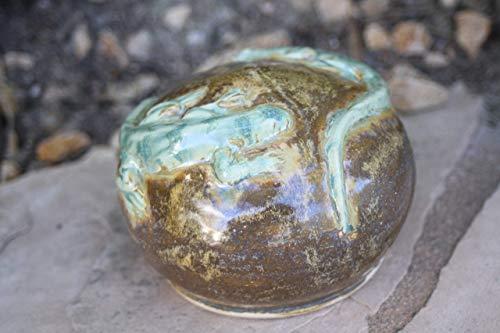 Brown and Green Lizard Sphere, handmade pottery garden art