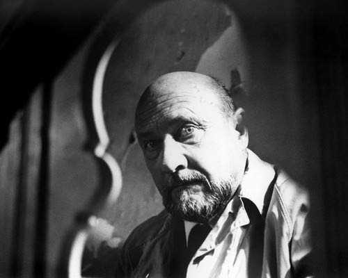 Donald Pleasence in Halloween in classic raincoat as Dr Loomis 11x14 HD Aluminum Wall Art