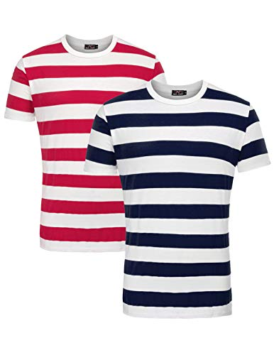 Men's Scoop Neck Stripe Tee Tops 2 Pack Red and Navy, XX-Large