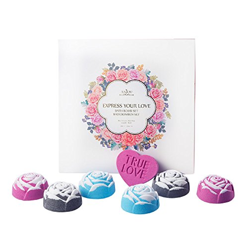 Anjou Bath Bombs Gift Set  Perfect For Bubble   Lush Spa Bath  Handmade Birthday Gift Idea For Her Him  Wife  Girlfriend  Men  Women  6 X Rose Shaped Bombs  1 X Heart Shaped Bomb