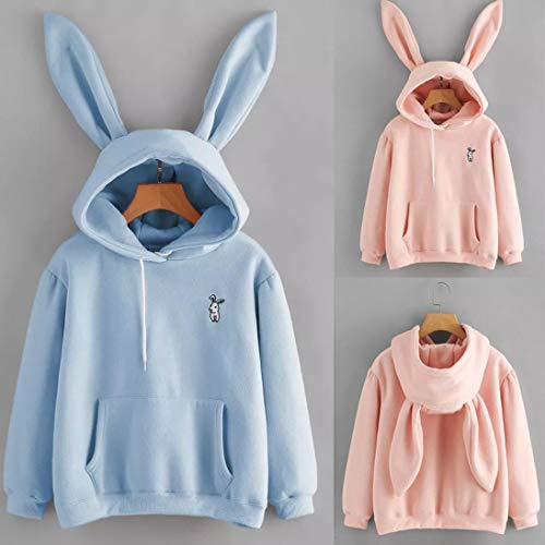 shirt Jumper Sweatshirt Ears Hooded Blouse T Cute Design Unique Tops Character Blue Rabbit Pullover wp0fXqA