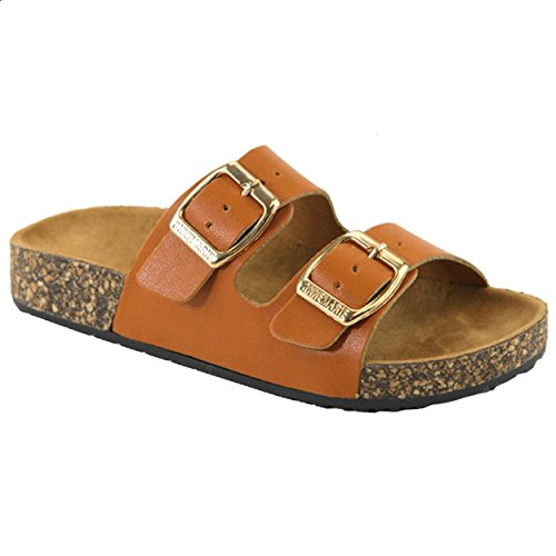 Buckle Straps Sandals Flip Flop Platform Footbed (9, Tan) ()