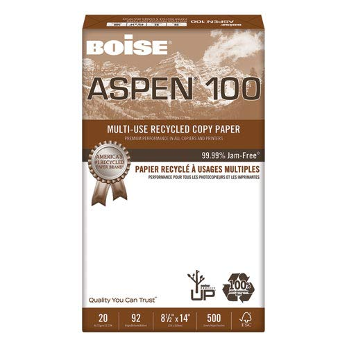 - ASPEN 100% Recycled Multi-Use Paper, 92 Bright, 20lb, Legal, White, 5000/CT, Sold as 10 Ream