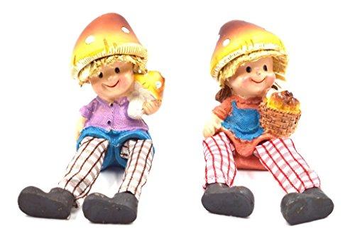 Pair of Shelf Sitter Boy & Girl Mushroom Head Dangly Legs Fruit ()