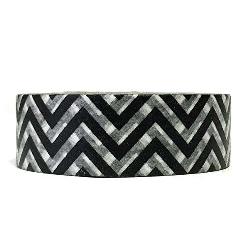 Wrapables A69376c Colorful Patterns Washi Masking Tape, Black Super Chevron