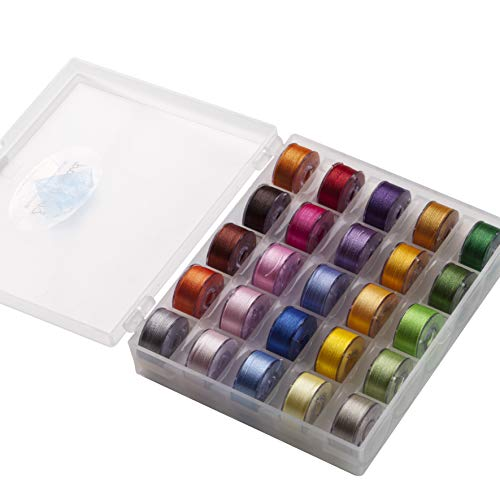 25 Prewound Bobbin Embroidery Thread Size A with Bobbin Holder Box suitable for Janome Brother Babylock Singer machines (Assorted Colors)