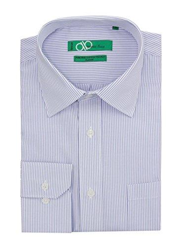 "Bianco B Men's Modern Classic Fit 2 Ply Pure Cotton Striped Dress Shirt (16.5"" Neck 34-35 Sleeve, White Blue)"