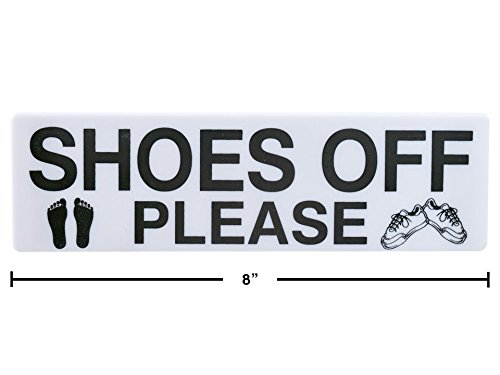 Shoes Off Please Adhesive Sign , 20x6cm - 2.5 Inch x 8 ()