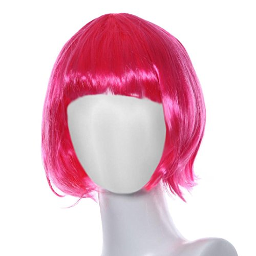 Short Straight Hair Wig,Hemlock Women Girls Masquerade Wig Cosplay Roll Bang Wig (Pink) (Adult Short Pink Wig)