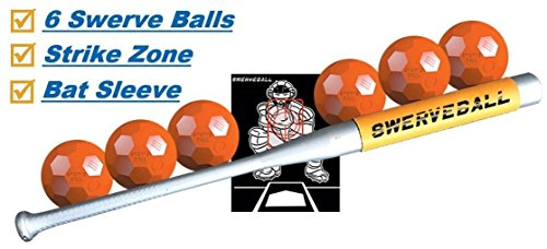 Swerve Ball Plastic Baseball Combo Starter Set Including 6, Strike Zone, Sweet Spot Bat Sleeve, and Pitching Guide -