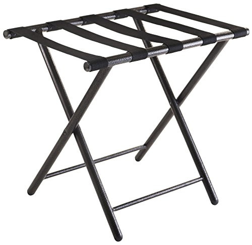 Black Luggage Rack (Winsome Tavin Luggage Rack with Folding Straight Leg)