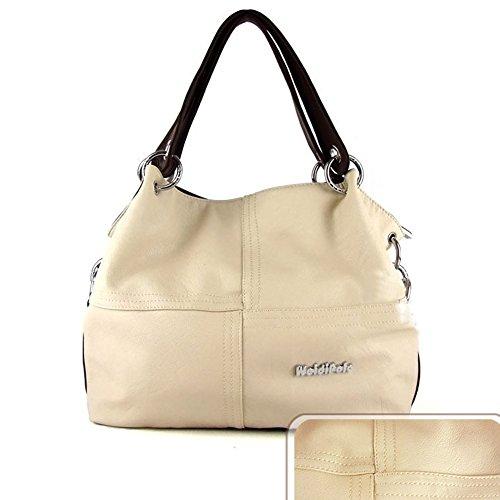 Offerta grandi Vintage Crossbody Weidipoio Speciale spalla borsa Borse Beige Beige Donne Cuoio Accrescimento 5q6wwnat8z