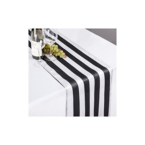 lovemyfabric Pack of 10 Satin 2 Inch Striped Table Runners For Wedding/Bridal Shower Birthdays/Baby Shower and Special Events (Black and White, 12''X120'') by lovemyfabric