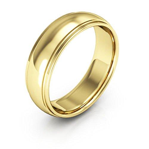 (18K Yellow Gold men's and women's plain wedding bands 6mm half round edge comfort fit, 8.75)