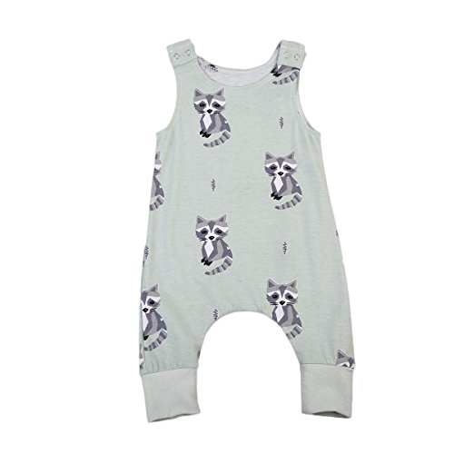 Small&beautiful Infant Unisex Baby Fox Print Romper Sleeveless Jumpsuit Bodysuit Playsuit Outfits (18-24 Months, Green) ()