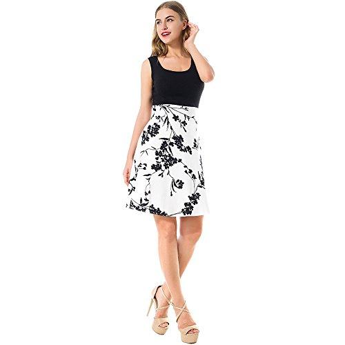 mujer casual verano depósito blanco Vintag mangas Feminino 2017 vestido vestimenta de vestido vestido de Floral cuello Nueva boca Midi sin Rockabilly La Vestido 5wBqI7xBT